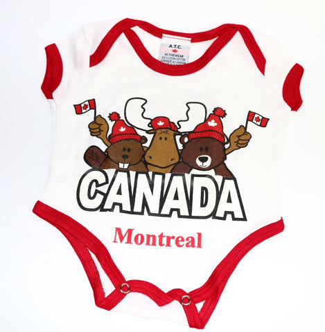 "Baby Infant Onesie ""Canada Montreal"" with Moose, Bear, Beaver Souvenir"