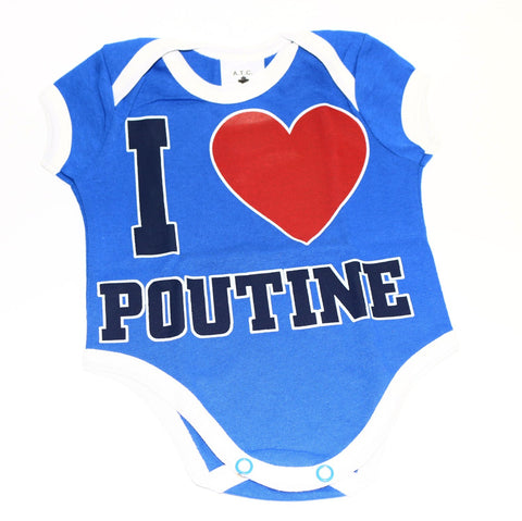 "Baby Infant Onesie ""I Love Poutine"" Blue also available in white with red ringer"