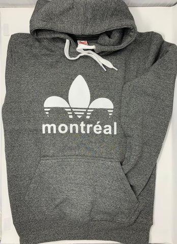 Sweat shirt Hoodie charcoal or black with Montreal print - Unisex Adult