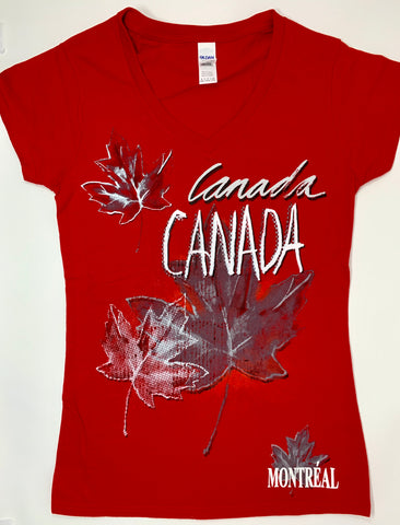 Red Canada Maple Leaf Souvenirs T-Shirt - ladies  Size slim cut