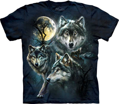 The Mountain T-Shirt - Moon Wolves Collage (Adult Unisex)