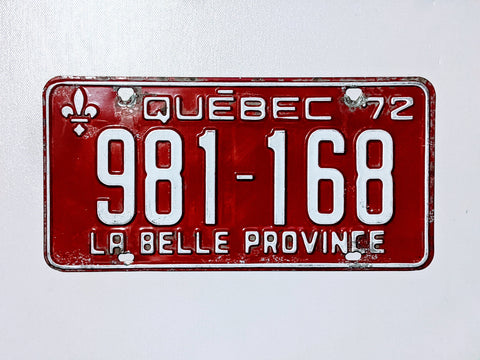Quebec 72' Licence Plate