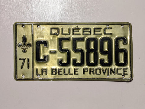 Quebec 71' Licence Plate