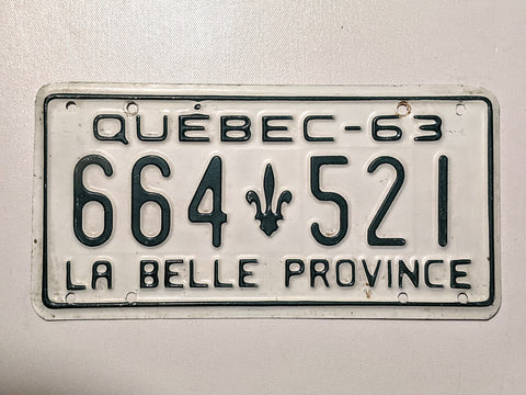 Quebec 63' Licence Plate