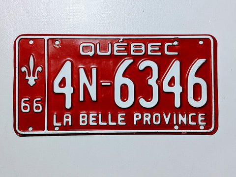Quebec 66' Licence Plate
