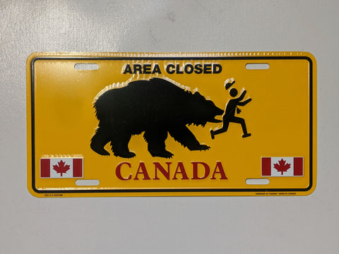 Bear Chasing Canadian Licence Plate