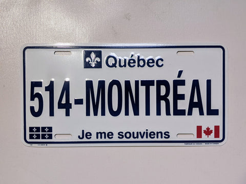 514-Montreal Licence Plate