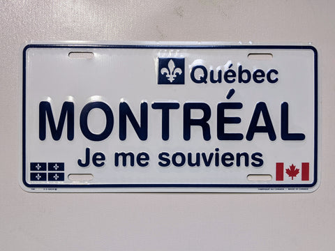 Montreal Je me Souviens Licence Plate