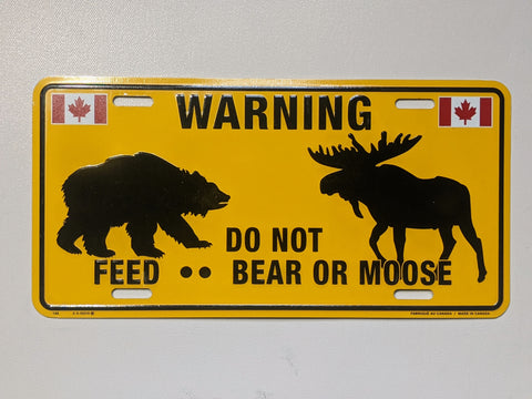 Do Not Feed Bear or Moose Warning Licence Plate