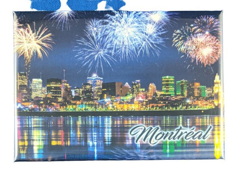 Montreal City Night Skyline Fridge Magnet