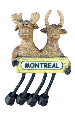 Moose Holding Montreal Sign Fridge Magnet