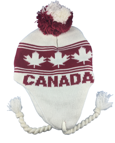 White Canada Maple Leaf Toque Beanie