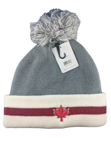 Grey and White Maple Leaf Toque Beanie