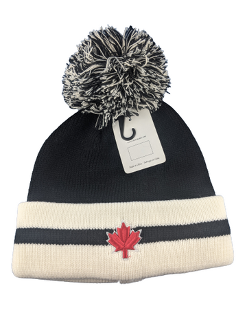 Black and White Maple Leaf Toque Beanie