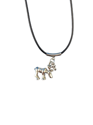 3D Polisehd Metal Canada Moose Pendant Necklace