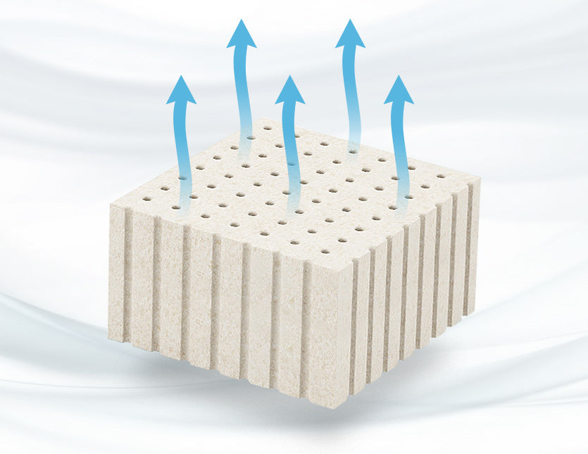 Use latex mattress with open cells and pinholes for a cool night sleep