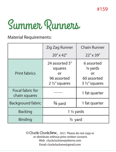 Summer Runners #159 Little, PDF Pattern