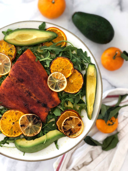 Smoked Paprika Trout with Sweet Clementine's, Mandarins and Creamy Avocado