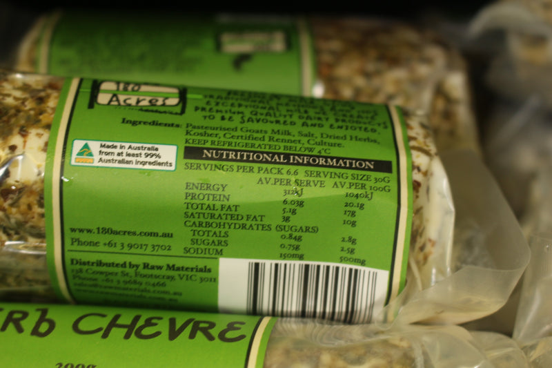 180 Acres Herb Chevre 200g* Dairy & Eggs > Cheese