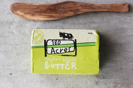 180 Acres Organic Butter Salted 250g* Dairy & Eggs > Butter