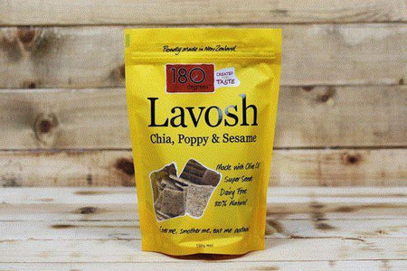 180 Degrees Chia Poppy & Sesame Lavosh 150g Pantry > Biscuits, Crackers & Crispbreads