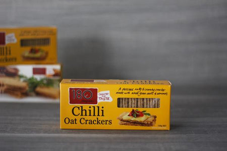 180 Degrees Chilli Pepper Oat Crackers 150g Pantry > Biscuits, Crackers & Crispbreads