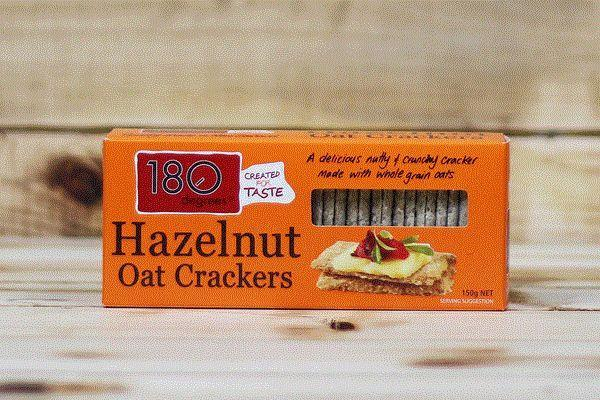 180 Degrees Hazelnut Oat Crackers 150g Pantry > Biscuits, Crackers & Crispbreads