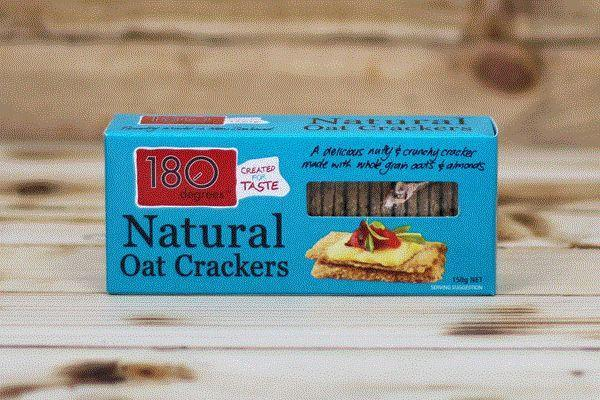 180 Degrees Natural Oat Crackers 150g Pantry > Biscuits, Crackers & Crispbreads