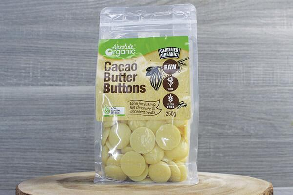 Absolute Organic AOr Raw Cacao Butter Buttons 250g Pantry > Dried Fruit & Nuts