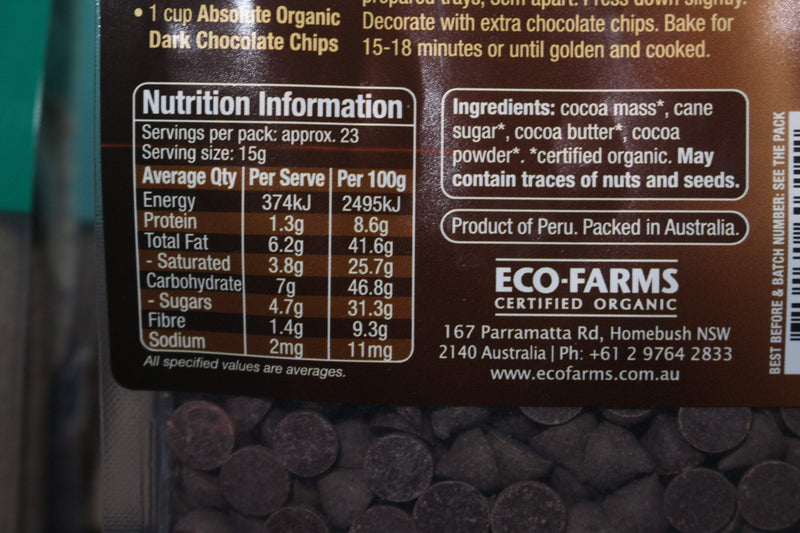 Absolute Organic Organic Dark Choc Chips 350g Pantry > Cookies, Chips & Snacks