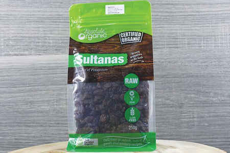 Absolute Organic Organic Sultanas 250g Pantry > Dried Fruit & Nuts