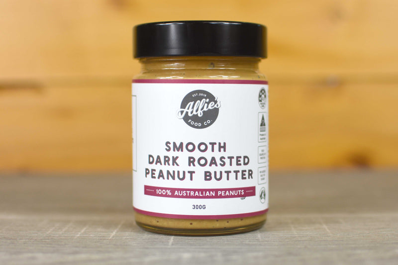 Alfie's Smooth Dark Roasted Peanut Butter 300g Pantry > Nut Butters, Honey & Jam