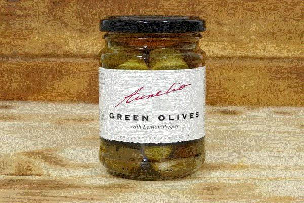 Aurelio Green Olives in Lemon Pepper 240g Pantry > Antipasto, Pickles & Olives