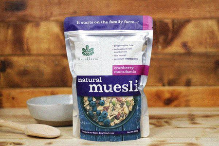 Brookfarm Natural Cranberry Macadamia Muesli 500g Pantry > Granola, Cereal, Oats & Bars