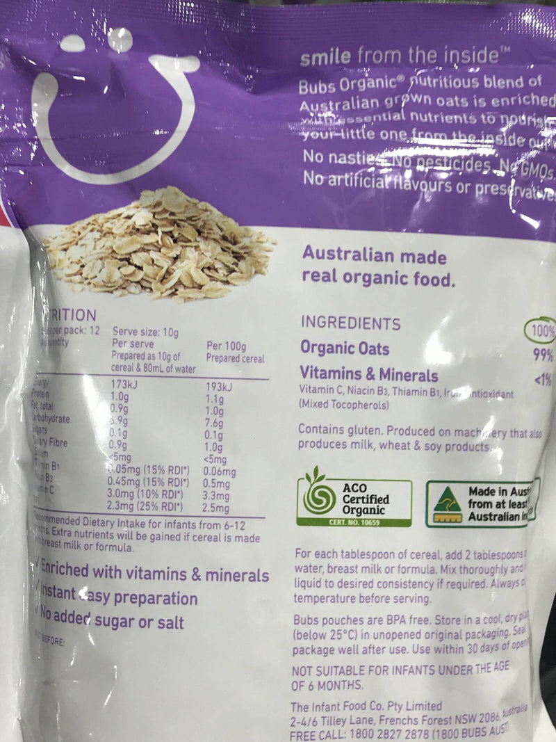 Bubs Bubs Org Baby Oats Cereal 125g Pantry > Baby Food & Kids Corner
