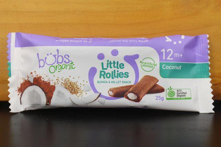 Bubs Coconut & Raw Cacao Little Rollies 25g Pantry > Baby Food & Kids Corner