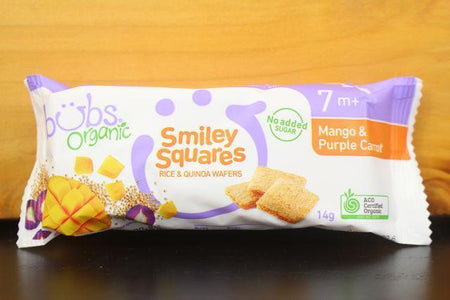 Bubs Mango & Purple Carrot Smiley Squares 14g Pantry > Baby Food & Kids Corner