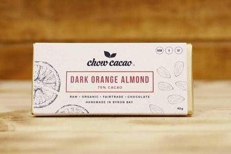 Chow Cacao Dark Orange Almond Chocolate Slab 40g Pantry > Confectionery
