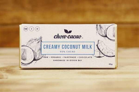 Chow Cacao Organic Creamy Coconut Milk Chocolate Slab 40g Pantry > Confectionery