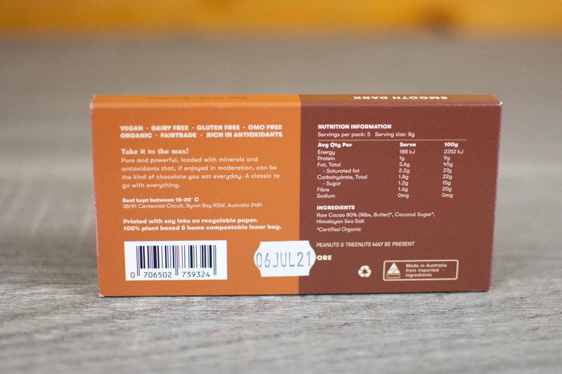 Chow Cacao Organic Smooth Pure Dark Chocolate Slab 40g Pantry > Confectionery