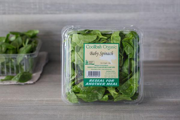 Coolibah Herbs Organic Baby Spinach 120g* Produce > Vegetables