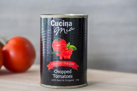 Cucina Mia Chopped Tomatoes with Basil & Oregano 400g Pantry > Canned Goods