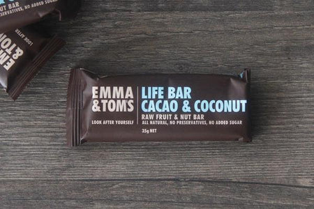 Emma & Tom's Cacao & Coconut Life Bar 35g Pantry > Granola, Cereal, Oats & Bars