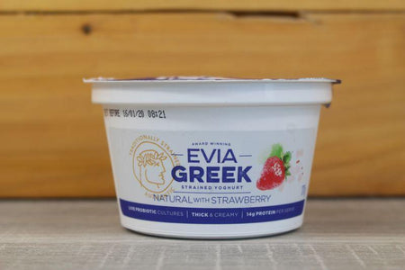 Evia Greek Yoghurt Full Cream Natural with Strawberry 170g Dairy & Eggs > Yoghurt