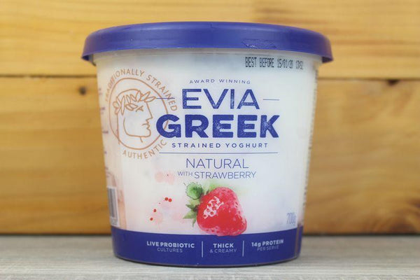 Evia Greek Yoghurt Full Cream Natural with Strawberry 700g Dairy & Eggs > Yoghurt