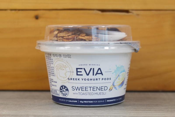 Evia Greek Yoghurt Pod Sweetened with Toasted Muesli 170g Dairy & Eggs > Yoghurt