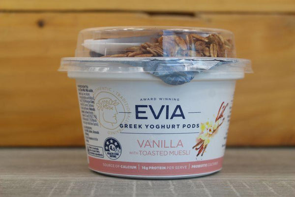 Evia Greek Yoghurt Pod Vanilla with Toasted Muesli 170g Dairy & Eggs > Yoghurt