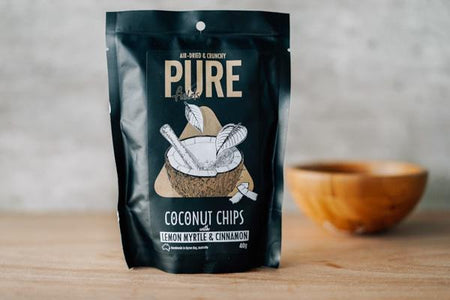 Extra Ordinary Foods Organic Coconut Chips: Lemon Myrtle & Cinnamon Pantry > Cookies, Chips & Snacks