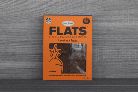Fine Fettle Foods Carrot & Pepita Flats 80g Pantry > Biscuits, Crackers & Crispbreads