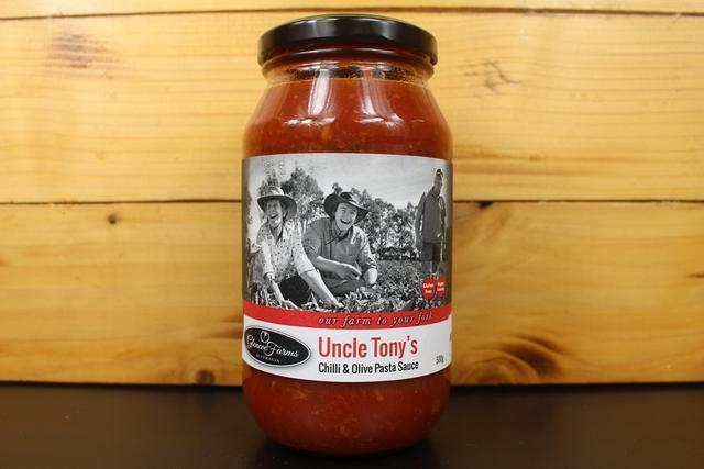 Glencoe Farms Uncle Tony's Chilli & Olive Sauce 500g Pantry > Condiments